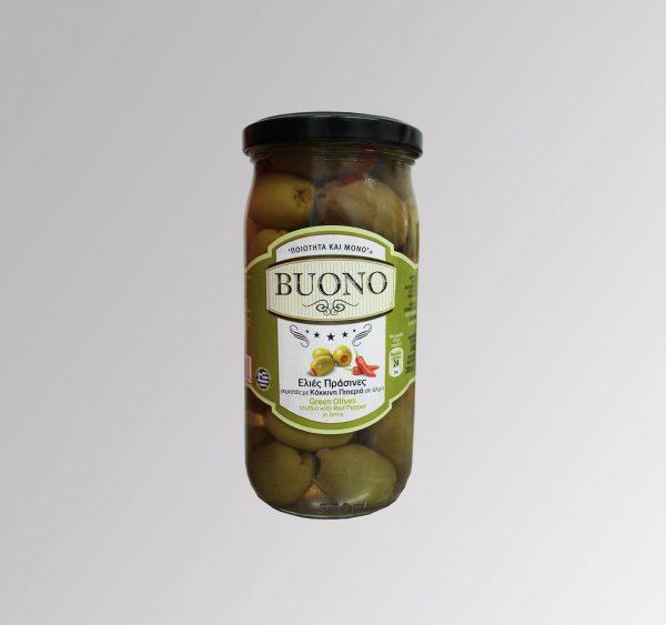 Grüne Oliven gefüllt mit Paprika (360 g)
