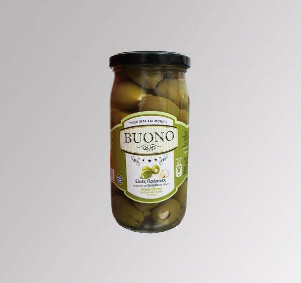 Grüne Oliven gefüllt mit Knoblauch (360 g)